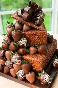 This delicious birthday cake, with it's cascading chocolate dipped fresh strawberries, is one of my favourites!