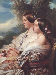 Franz Xaver Winterhalter (1805-1873) — The Cousins: Queen Victoria and Victoire, Duchesse de Nemours, 1852  (1000x1343)