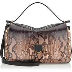 Jimmy Choo LOCKETT/M Black and Ballet Pink Degradé Python Handbag ($4,250) ❤ liked on Polyvore