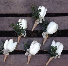 White tulip buttonholes by Bloom Fleuriste