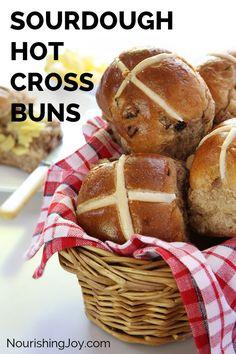 Sourdough Hot Cross Buns | NourishingJoy.com