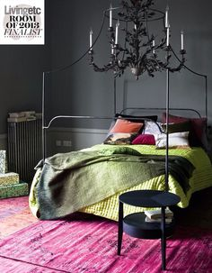 Grey walls with colour pops of bedding