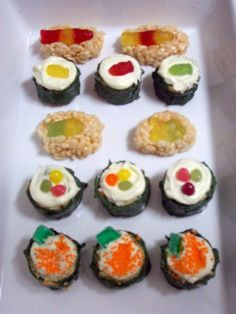 sushi cupcakes and sashimi rice crispies