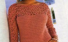 I tuoi schemi maglia per creare un maglioncino color legno di rosa - Oggi impareremo a realizzare a maglia un maglione come quello che vedete in fotografia. Abbiamo utilizzato un filato color legno di rose e nella parte superiore abbiamo usato l'uncinetto.