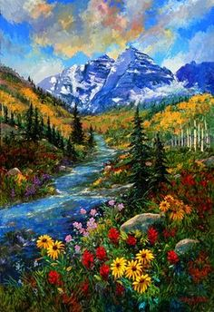 """Maroon Bells on the Way to Crater Lake"" - painting by Schaefer/Miles Mountain Paintings, Nature Paintings, Beautiful Paintings, Beautiful Landscapes, Canvas Painting Nature, Landscape Art, Landscape Paintings, Landscape Photos, Landscape Photography"