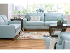 Slumberland | Fender Collection   Aqua Sofa Blue Leather Sofa, Leather  Sofas, Couch Furniture
