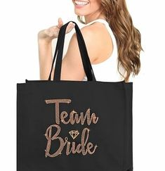 "A great addition to all of your Wedding events, this large tote bag says TEAM BRIDE in multi-faceted rose gold rhinestuds accented with a rose gold glitter diamonds. Bigger than most Bridal Party Totes, this tote is a roomy 18"" x 14"" size! Plus, this heavy-weight cotton canvas tote is made by a rhinestone artist right here in the USA! Bachelorette Party Scavenger Hunt, Bachelorette Gifts, Team Bride, Rose Gold Glitter, Large Canvas, Large Tote, Mint Green, Cotton Canvas, Wedding Events"