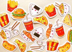 Cute Food Planner Stickers- Kawaii Hamburger & Fries Planner Sticker Pack of 30, Calender Agenda, Filofax Stickers, Cute Fast Food Stickers