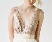 Eden // Rose Gold Sequinned, Backless Wedding Dress