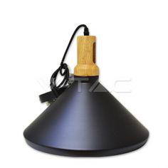 Κρεμαστό Φωτιστικό V-TAC Μεταλλικό Κωνική Καμπάνα Μαύρο με Ξύλινη Βάση και ντουί Ε27 Ф350