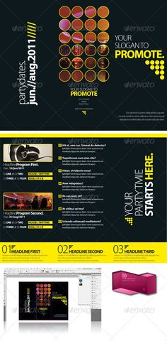 Black Club Trifold Brochure InDesign Template