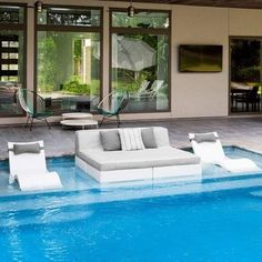 Shop Boxhill for modern pool furniture. Design the perfect oasis with contemporary outdoor pool furniture and decor. Choose from a variety of pool furniture and accessories. Small Swimming Pools, Luxury Swimming Pools, Swimming Pools Backyard, Dream Pools, Swimming Pool Designs, Pool Landscaping, Kids Swimming, Backyard Pool Designs, Backyard Patio