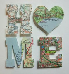 ...maps into art. Collect maps from your trip and have your vacations scattered around the home to remind you of special times and places <3