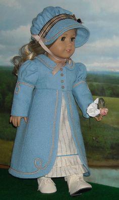 1812 Regency Blue Wool Pelisse, Bonnet and Dress for 18 inch Dolls. $125.00, via Etsy.