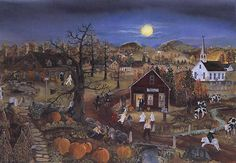 """Will Moses's Limited Edition Puzzle """" Spooky Halloween """" Halloween Projects, Spooky Halloween, Vintage Halloween, Vintage Holiday, Happy Halloween, Grandma Moses, Primitive Folk Art, Halloween Pictures, Naive Art"""