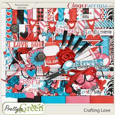 Pull out your scissors, grab the glue and get crafty! Valentine's day or just to make a special loved one a crafty surprise!  My kids make Valentine Boxes each year, and it's always a super fun craft in our house!   Use all the Fun Mixed Media elements in this fun filled kit to complement scrapping your crafty adventure  This Kit Includes:25 Papers and 68 Elements with 7 pieces of Word art!