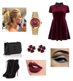 """""""New Elegant  Outfit - By Twee :)"""" by twetiee on Polyvore featuring Miss Selfridge, Dune, Charlotte Olympia, Yves Saint Laurent, Carla Amorim, Salvatore Ferragamo and Lime Crime"""