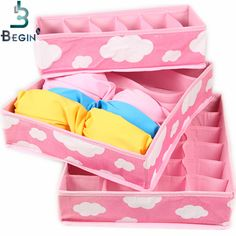 2016 Free Shipping Pink Various Grid Pattern Fashion Convenient Folding Storage Box Bag for Bra Underwear Necktie Sock Organizer