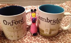 "Floyd and the 2015 Oxford and Cambridge ""OxBridge"" Mugs! #starbucks #floydtheflamingo #oxford #cambridge #oxbridge"