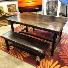 Reclaimed Barn Wood Dining Table with Matching Benches. Epoxy finish &…