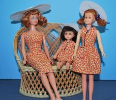 "OOAK Coordinating Outfits for Vintage Barbie, Skipper & Tutti. Repro ""Sensation"""