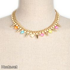 Colorful Spikes Gold Necklace $20 + worldwide shipping #summer #spring #accessory #fashion #jewelry