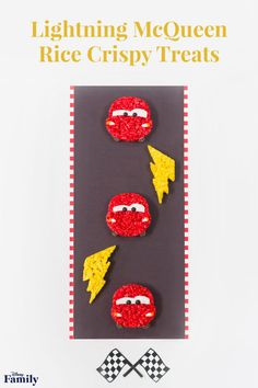 For your next Cars movie night, create these Lightning McQueen Rice Crispy Treats. Make the full racer, a lightning bolt design, or both! Walt Disney, Disney Diy, Disney Food, Disney Family, Disney Stuff, Disney Pixar, Rice Crispy Treats, Krispie Treats, Recipe Cars