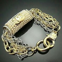 Chanel Two-Tone Bracelet Gold & Silver With Crystals & Pearls