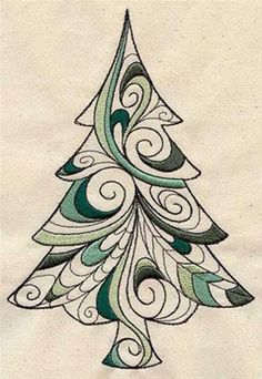 Doodle Christmas Tree Pine Tree by EmbroideryEverywhere on Etsy