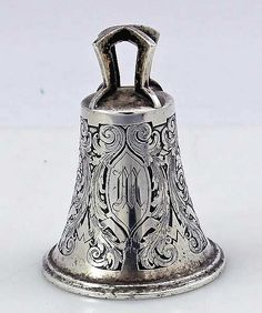 Kerr antique sterling table bell with acid etched decoration and single letter M monogram in the cartouche