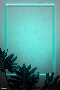 Green neon lights frame with tropical leaves mockup design | premium image by rawpixel.com / HwangMangjoo