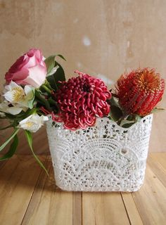 The 6 inch square stiffened lace vase cover has a scalloped edge and is inches tall. Can be used as a basket or to cover vases. Lace Vase, Lace Centerpieces, Wholesale Ribbon, Lace Weddings, Vintage Weddings, Bouquet Wrap, Florist Supplies, Burlap Fabric, Gift Packaging