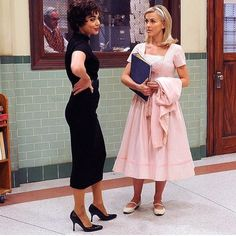 Julianne (Sandy) and Vanessa (Rizzo) during Grease Live Sandy Grease Outfit, Grease Outfits, Grease Costumes, Pirate Halloween Costumes, Couple Halloween Costumes For Adults, Costumes For Women, Woman Costumes, Couple Costumes, Adult Costumes