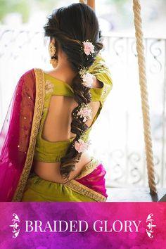 Indian Bridal Hair Style For Long Hair Wedding Braids Ideas New Braided Hairstyles, Wedding Hairstyles For Long Hair, Braids For Long Hair, Indian Hairstyles, Trendy Hairstyles, Girl Hairstyles, Flower Hairstyles, Wedding Hairdos, Bridal Braids