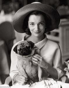 Princess Radziwill with her pug, Thomas. Photographed by Henry Clarke, August 1960