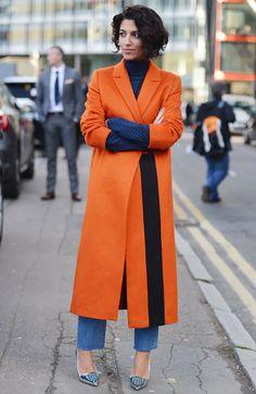 London Fashion Week Street Style: Best Dressed | orange coat. jeans.