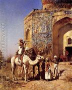 Old Blue Tiled Mosque Outside Of Delhi India  by Edwin Lord Weeks