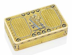 A Swiss enamelled gold musical snuff-box. Geneva, circa 1800. Estimate: £6,000-8,000. This piece is offered in Centuries of Style: Silver, European Ceramics, Portrait Miniatures and Gold Boxes, 1-2 December at Christie's in London