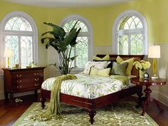"""a gorgeous green room displaying the """"Indochine Collection"""" from Grange. Beautiful Bedrooms, Beautiful Interiors, British Colonial Bedroom, French Colonial, Bedroom Green, Bedroom Decor, Hawaiian Home Decor, Caribbean Decor, Inspiration"""