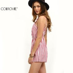 The Brenda Red & White Striped Romper is ready for sunny days and perfect waves! Breezy, woven cotton, with a Red & White striped print, covers adjustable straps, a surplice bodice. Cute Rompers, Rompers Women, Jumpsuits For Women, Trendy Fashion, Womens Fashion, Fashion Trends, Style Fashion, Summer Romper, Summer Jumpsuit