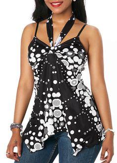 Black Tie Back Polka Dot Print Blouse Stylish Tops For Girls, Trendy Tops For Women, Blouses For Women, Blouse Styles, Blouse Designs, Trendy Fashion, Fashion Outfits, Women's Fashion, Red Blouses