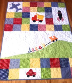 Personalised Baby Boy Quilt with truck plane by BlackTulipQuilts, $185.00 2nd Place in the QQQ Contest of the Month.. Well done Robyn, it was close!