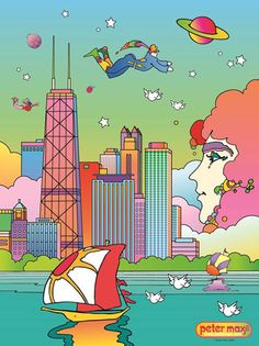 Peter Max isn& a fad, he& a great artist Hippie Trippy, Hippie Art, Peter Max Art, 60s Art, Colorful Artwork, Retro Illustration, Psychedelic Art, Artist Art, Great Artists