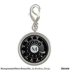 Monogrammed Retro Rotary Dial Novelty Charm Photo Charms, Memorable Gifts, Rotary, Colorful Backgrounds, How To Memorize Things, Monogram, Perfume, Charmed, Silver