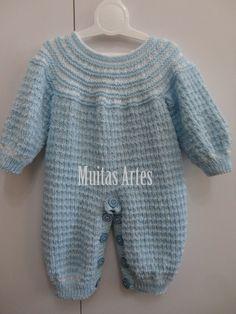 Macacão para bebê em tricô Crochet Art, Crochet For Kids, Free Crochet, Knitting Dolls Clothes, Doll Clothes, Bebe Baby, Our Baby, Baby Knitting, Free Pattern