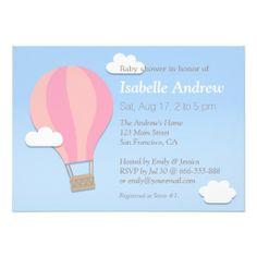 Pink Chevron, Hot Air Balloon, Girl Baby Shower Custom Invite