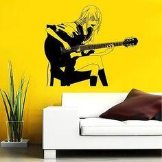 GUITAR ROCK BAND STAR GIRL MUSIC ANIME WALL VINYL STICKER DECALS MURAL D1636