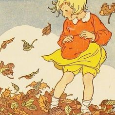 Autumn, fall, fall colors, September, October, November, leaves, trees, nature, Jessie Wilcox Smith, vintage
