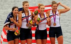 USA women's quadruple sculls crew members Natalie Dell (SPH'09) (from left), Kara Kohler, Megan Kalmoe, and Adrienne Martelli with the bronze medals