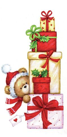 xmas bear presents copy Veronica Vasylenko, Representing leading artists who produce children's and decorative work to commission or license. Christmas Graphics, Christmas Clipart, Noel Christmas, Christmas Animals, Christmas Printables, Christmas Pictures, Christmas Presents, Vintage Christmas, Christmas Crafts